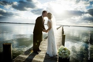 Love wedding photos on docks! This one is at the Ware River Yacht Club in Gloucester, VA. Late evening + clouds = GREAT light!