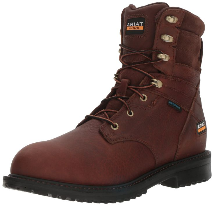 "Ariat Work Men's Rigtek 8"" H2O Composite Toe Work Boot, Oiled Brown, 14 D US"