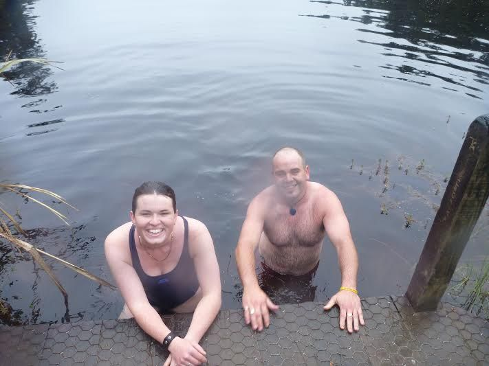 First swim of the summer in Lake Matheson!