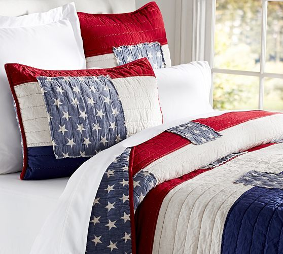 Love these patriotic bed linens from Pottery Barn.  The hand pick-stitched stars and stripes deconstruct the flag with a vintage Americana feel. Stars & Stripes Quilt & Sham | Pottery Barn