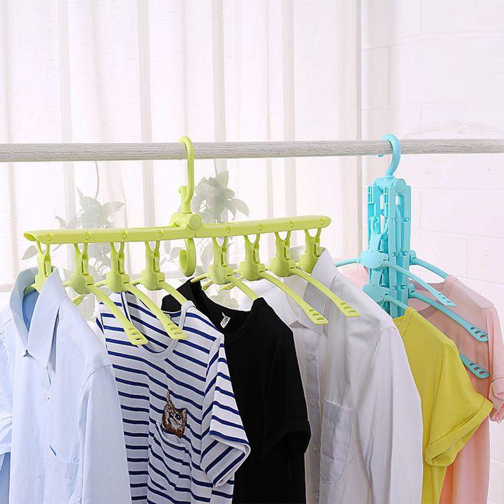 Multifunction Telescopic Foldable 360° Rotate Cloth Hanger Non-slip Plastic Cloth Hanger