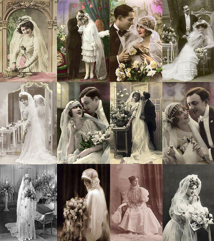 Arquivo com 100 lindas fotografias digitalizadas de noivas e cais de noivos que vão do final do século 19 e começo do século 20 ideais para quem gosta do tema e/ou trabalha com vários tipos de arte e artesanato.