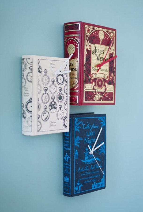 Trying to figure out what to do with all of your old books? This may be your answer. Make a series of book clocks!