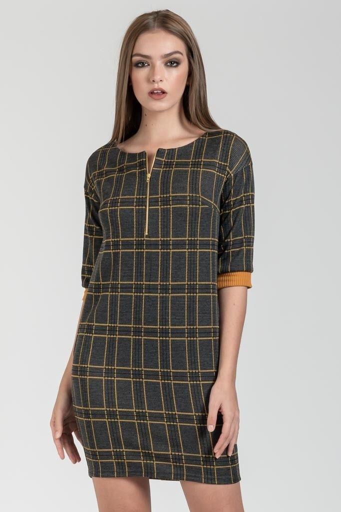 Μινι καρο φορεμα με 3 4 μανικια  571f2f61269