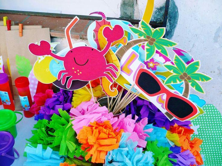 Lei. Photo booth. Party Hawaii. Fiesta hawaiana. Luau para niños