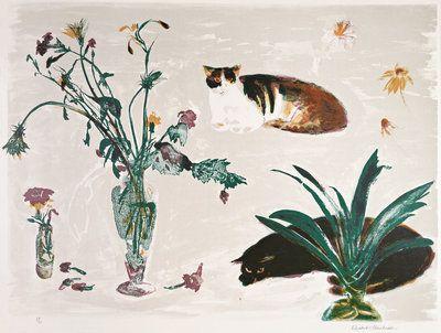 Cats and Flowers 1980 Wall Art & Canvas Prints by Elizabeth Blackadder