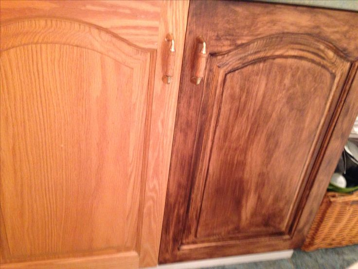 Old oak cabinet on left and stained with minwax gel stain for Gel stain