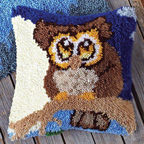 Night Owl Latch Hook Pillow Latch Hook Kit - http://knitting-crochet.diysupplies.org/crochet-kits/night-owl-latch-hook-pillow-latch-hook-kit/