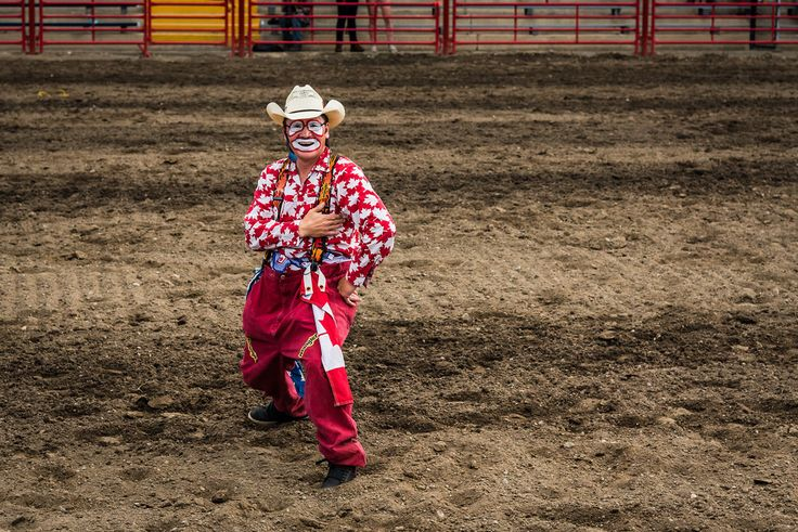Amy Mitchell Strike a Pose  Rodeo clown hamming it up for me :-) What a hoot. It's hard to take pictures when you're laughing.    Full album of images from the stampede www.flickr.com/photos/akmitchell/albums/72157669458078680