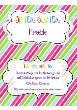Jitter Glitter is for the day before the first day of school. Bag Toppers (Large and Small) to place over the bag of Glitter. Poem to help kids feel at ease, when they have the Jitters. Glitter not included.