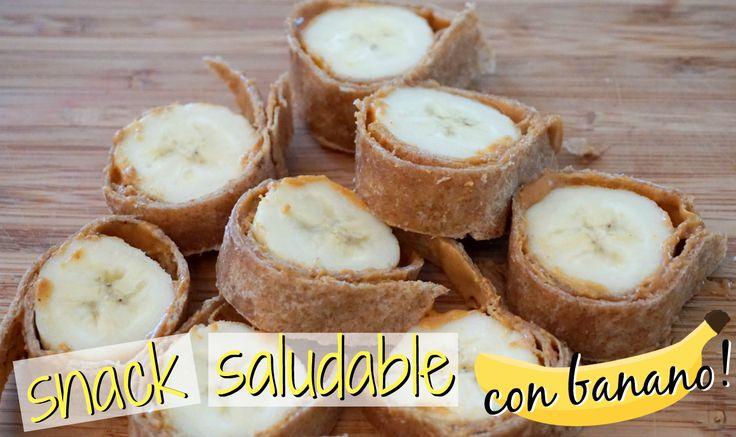 Rollitos de banano! #snacksaludable #banano #mantequillademani #meriendasaludable #snack #banana #healthysnack