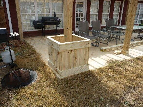 flower boxes around pergola posts or deck posts.