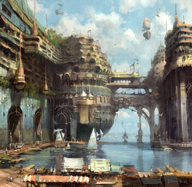Seaside town with market stalls and airships.: Concept Ships, Digital Paintings, Concept Art, Cities, Fantasy Art, Digital Art, Conceptart, Steampunk, Khang Le