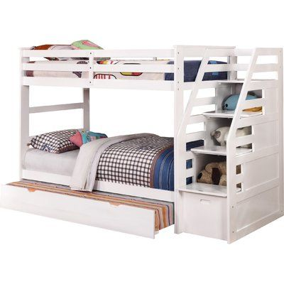 Harriet Bee Lille Twin Over Full L Shaped Bunk Beds With Stairway