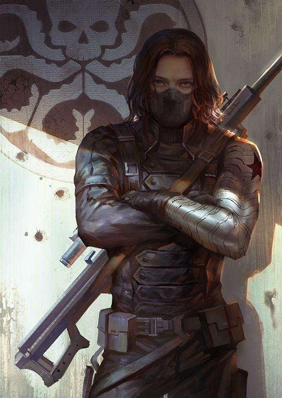 this is some awesome fanart. like holy shit someone out there's got a load of talent. i love how menacing bucky looks. i also like how his metal arm is done.