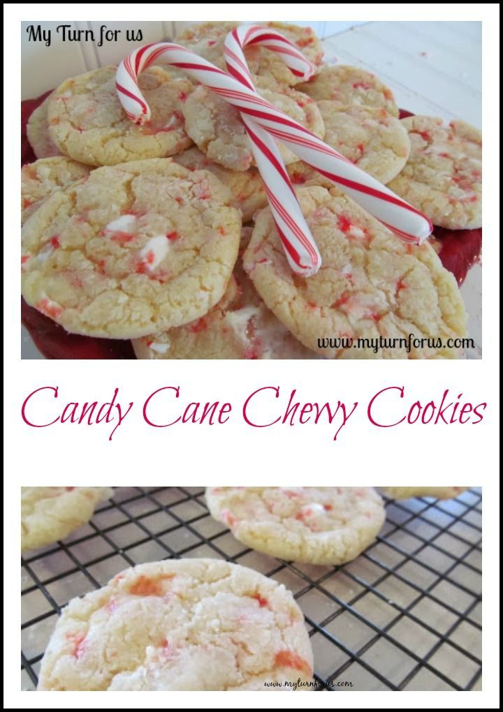 Candy Cane Chewy Cookies are one of our favorite cookies for Christmas! http://www.myturnforus.com/2013/12/candy-cane-chewy-cookies.html