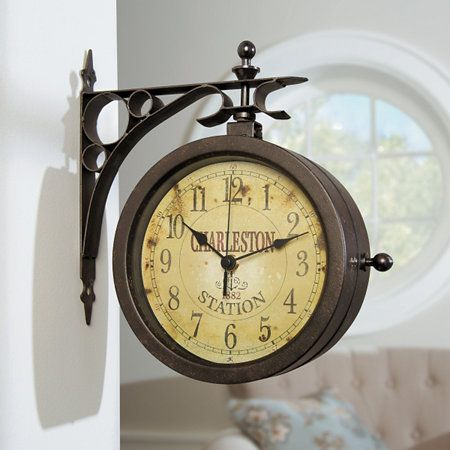 Charleston Station Two-Sided Thermometer Wall Clock $120