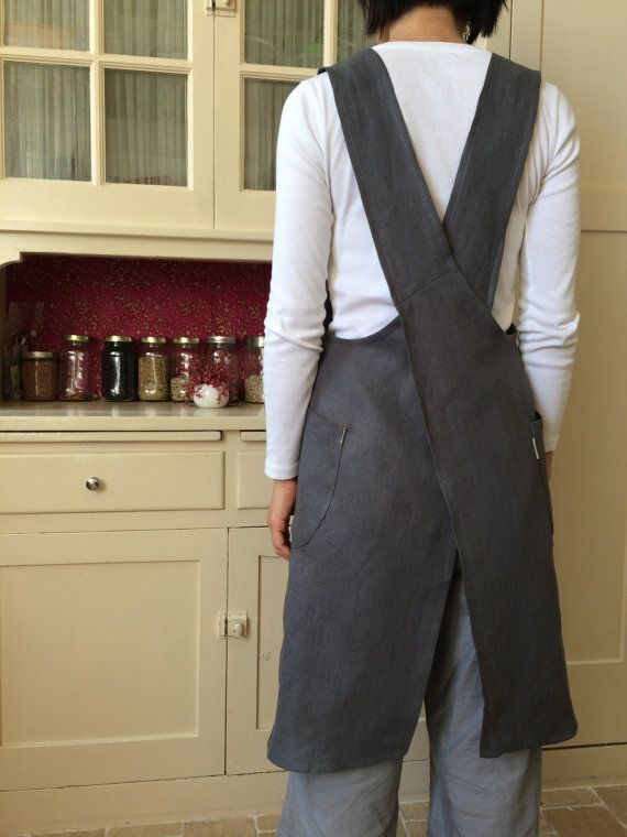 Linen pinafore apron dress for women in dark gray by YUIbasics