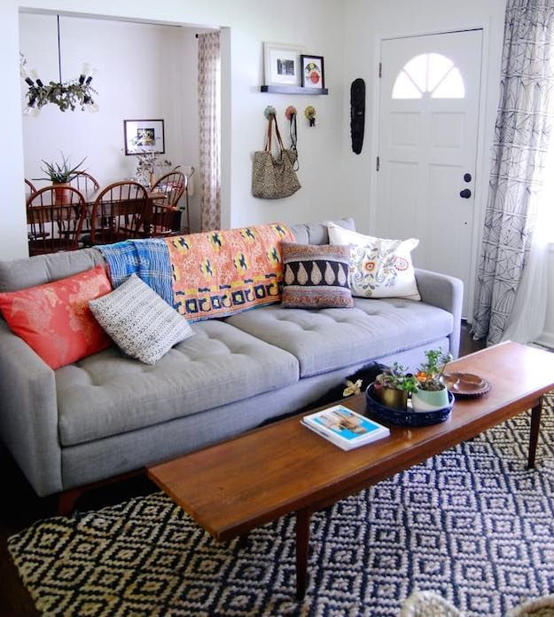 Bohemian Narrow Coffee Table | 15 Narrow Coffee Table Ideas For Small Spaces