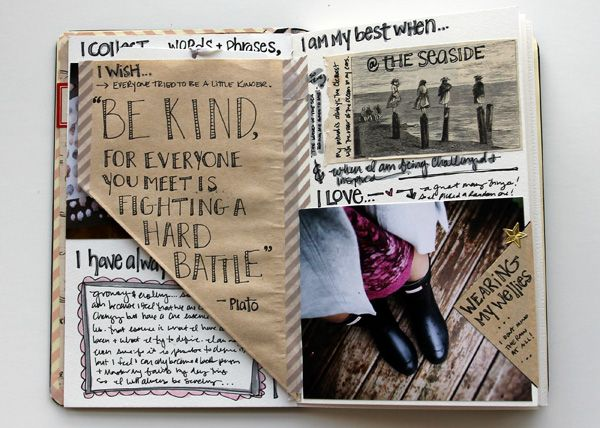 besottment by paper relics: be.prompted - august 2014 journaling spread