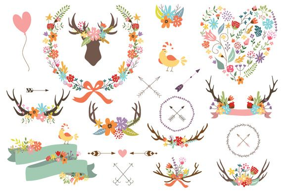Antler Clipart Banner Floral Wreath by CutePaperStudio on @creativemarket