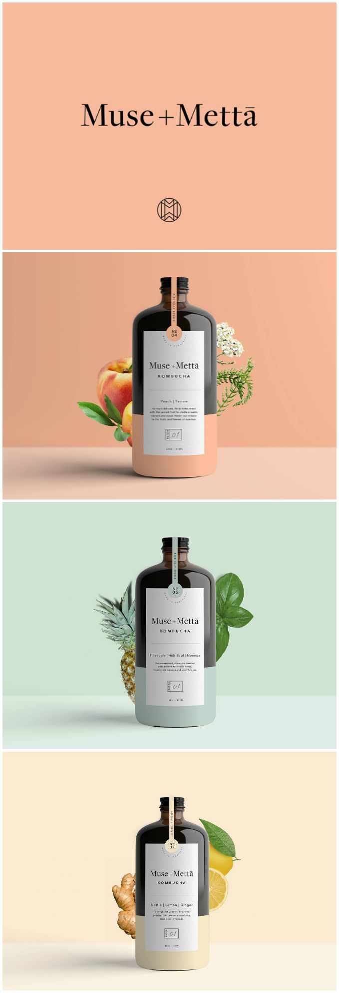 Branding and packaging for Fermented Beverage Kombucha / World Brand & Packaging Design Society
