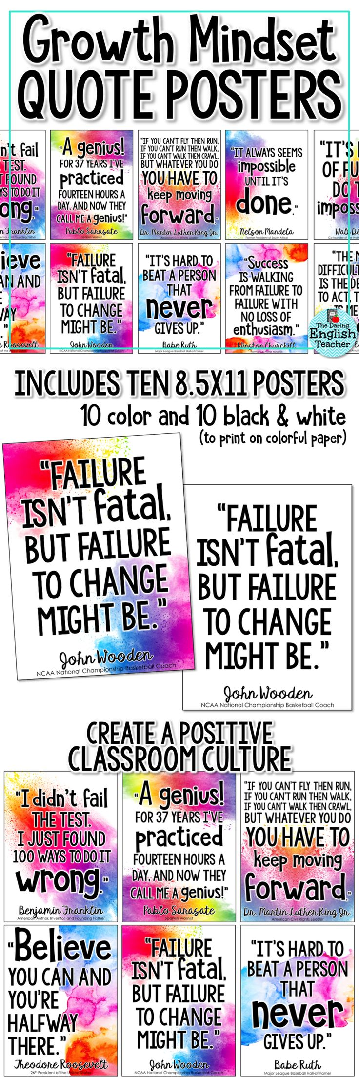 Cultivate a growth mindset in your classroom with these colorful growth mindset quote posters. Ideal for a growth mindset bulletin board or class display, these posters will help students work on improving their own mindset.