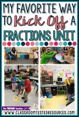 """My Favorite Way to Kick Off a Fractions Unit: Have fun introducing fractions with fraction play stations. Your students will enjoy this mode of kinesthetic learning while they work with the fraction vocabulary terms: """"numerator"""" and """"denominator""""."""