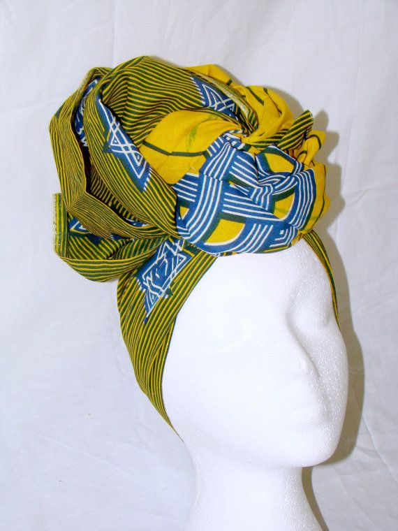 Yellow and Royal Blue Multicolor African Wax Print Headwrap Protective Headpiece