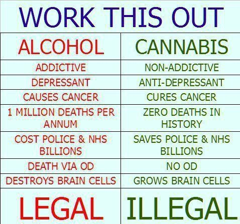 Legalize, please! •• Allow people to research, learn, & know the facts. Just like alcohol, cigarettes, & even foods available to the public [just to mention a few]... People are capable & have a right to choose; all that's missing is the legal ability to. All people should have ability to decide the way, & how, to live our individually gifted & unique lives. - To each his/her own - :)
