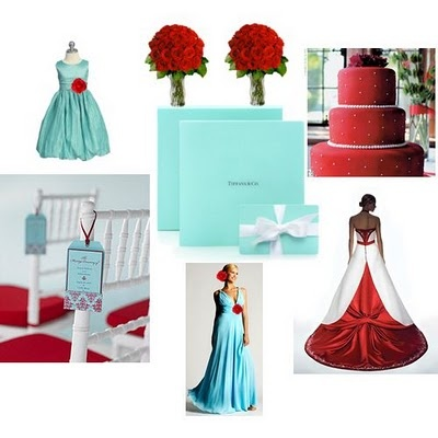 Red & Tiffany blue with a hint of champagne ...  Leaning towards these three colors as wedding theme.     Found on Weddingbee.com