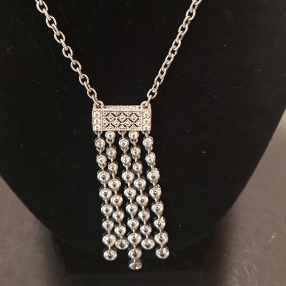Judith Ripka Couture Necklace Silver @CZ 9.25 Stunning Necklace from Judith Ripka's Couture Collection. Sterling 9.25 with 5 Strands of Inlayed CZ's. Looks absolutely fab and real ! Chain adjusts from 16in to 18 in. Great for Dress! Judith Ripka Jewelry Necklaces