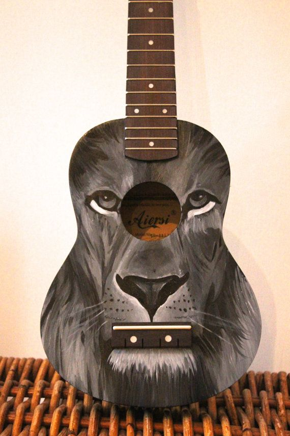 Hand Painted Ukulele Lion by OnKeyCrafts on Etsy