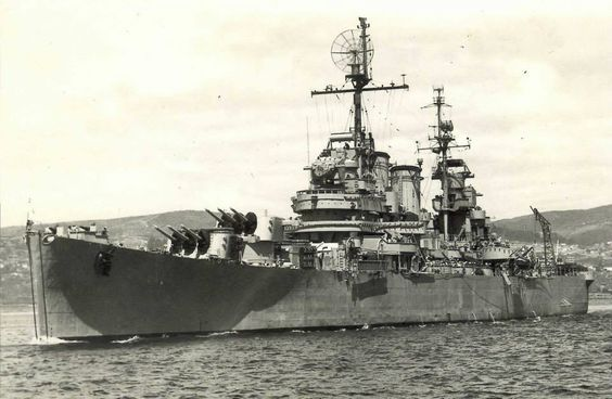 The Chilean Navy cruiser O'Higgins, which was formerly USS Brooklyn (CL-40) was a light cruiser. Decommissioned in 1947, she was transferred to the Chilean Navy in 1951, where she served for another 40 years. She sank under tow to a scrapyard in 1992.