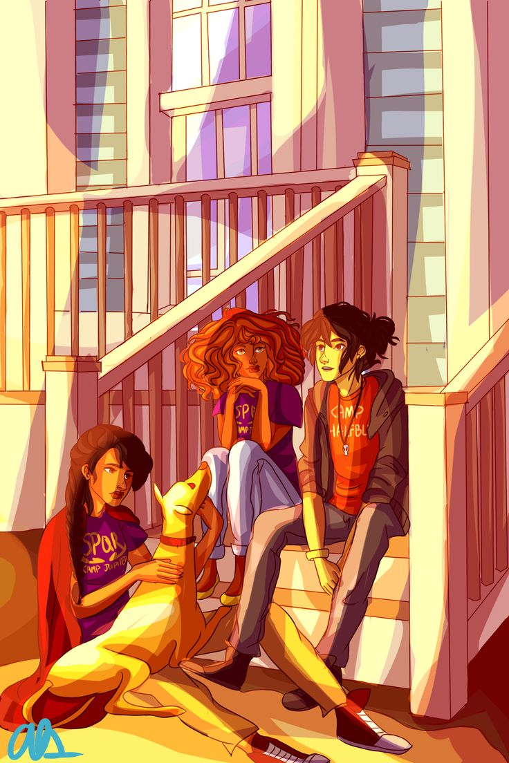 Reyna and Hazel visiting from Camp Jupiter to see how Nico's doing.  Love this fanart <3