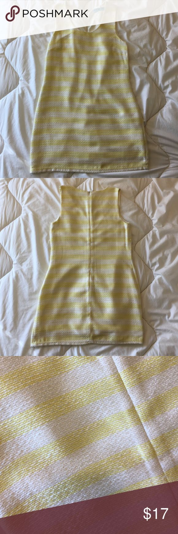 White & Yellow Striped Cocktail Dress with Gold This yellow & white striped cocktail dress with gold details woven in (see pictures) is perfect for any event! Only worn once with a belt for a bridal shower. Originally purchased from Francesca's. Aina Be Dresses Mini