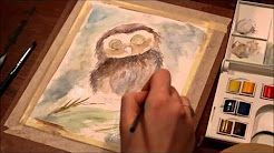 owl watercolor painting pencil - YouTube