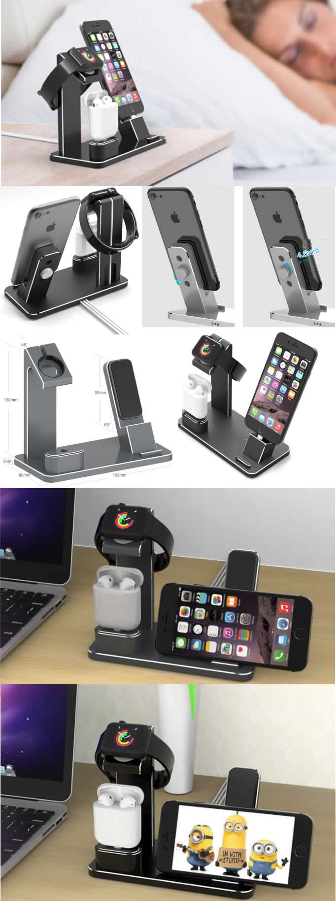 Aluminum Alloy Metal Apple Watch Charging Stand AirPods Stand Charging Docks Holder iPhone Charging Stand Docks for Apple Watch Series 3/2/1/ AirPods/ iPhone X/8/8Plus/7/7 Plus /6S /6S Plus/ iPad