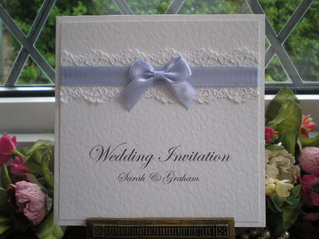 C0069 Pure Innocence Lace Pocketfold Wedding Invitation Blue