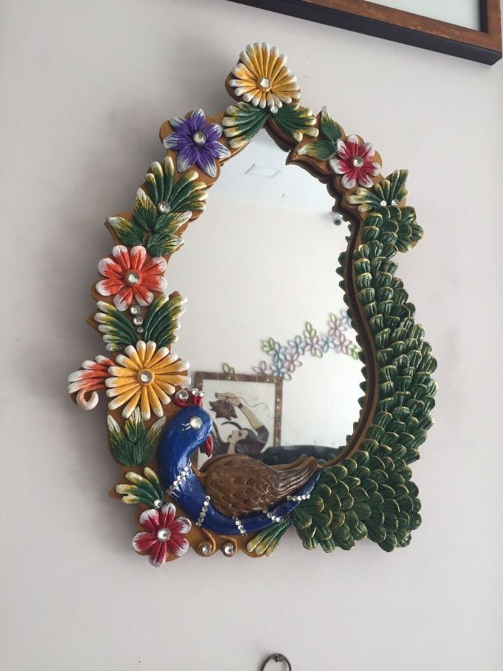 Peacock and floral mirror intricately hand crafted on wooden base . Perfect Diwali gifts for home decor