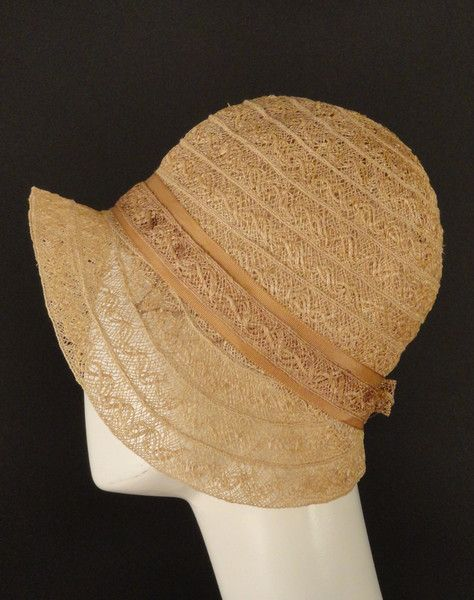 1920s Natural Woven Ribbon Straw Cloche- A LOT like the lace one I made in Lynn McMaster's class at CoCo