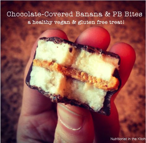 """Chocolate Covered Banana & Peanut Butter Bites  2 medium bananas, sliced evenly into ½"""" rounds (the smaller you make them the more """"bites"""" you get and vise versa)  1½ tablespoons natural smooth peanut butter  ¼ cup pure dark chocolate chips (or semi-sweet)  1 tablespoon coconut oil"""