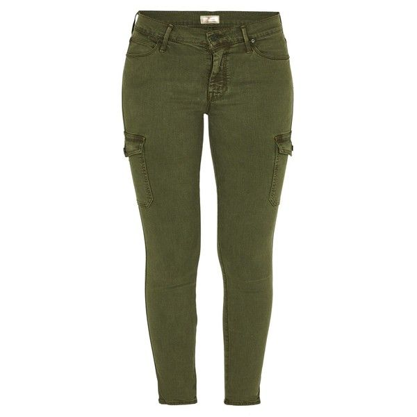 MOTHER DENIM The Charmer Cargo Trousers ($305) ❤ liked on Polyvore featuring pants, bottoms, jeans, military green, skinny leg pants, skinny pants, military green pants, skinny trousers and army green pants