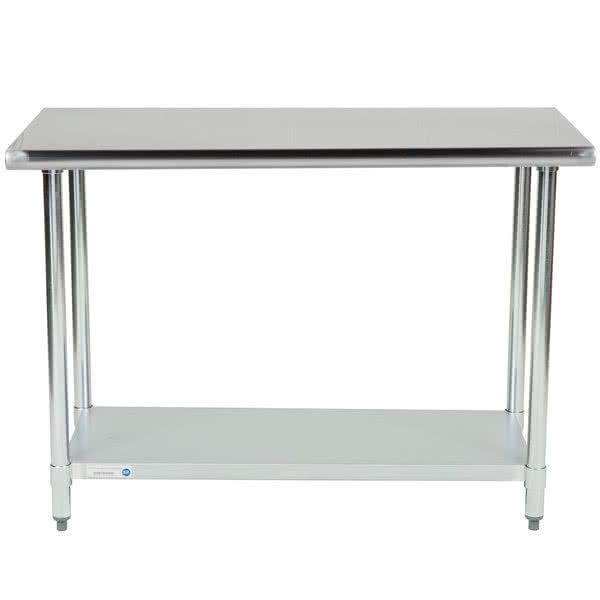 "If you are looking for a work table that will support the needs of your business without breaking the bank, look no further than this 18 gauge economy 24"" x 48"" 430 stainless steel work table with an undershelf! This table is made to perform the basic tasks of a work table like offering you a place to prepare fruits and vegetables, open cans, mix ingredients, and plate meals but without the initial cost of a heavier gauge table.<br><br> Ideal for areas of your business t..."