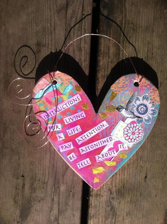 Positive Quote Wall Decor-Heart with Hummingbird Mixed Media