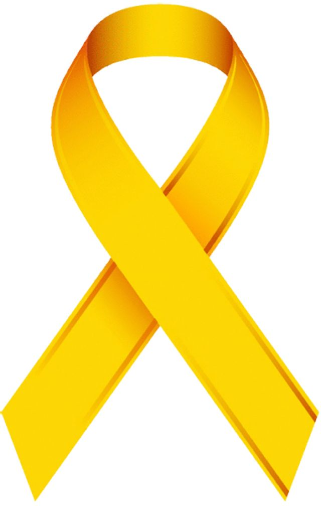Clip Art Of A Childhood Cancer Awareness Ribbon: Gold Awareness Ribbon