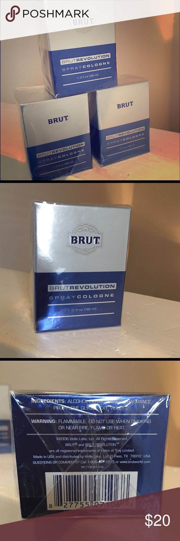 Lot of 3 BRUT REVOLUTION cologne! Valentines Special!  BRUT REVOLUTION EAU DE COLOGNE SPRAY LOT  FOR MEN 1.3 oz x 3! Brut Revolution was launched in 2006 as a fresh woody – aquatic fragrance made of pear, green and marine notes, black pepper, patchouli, musk and moss. 100% AUTHENTICITY GUARANTEED !!! BRUT Accessories