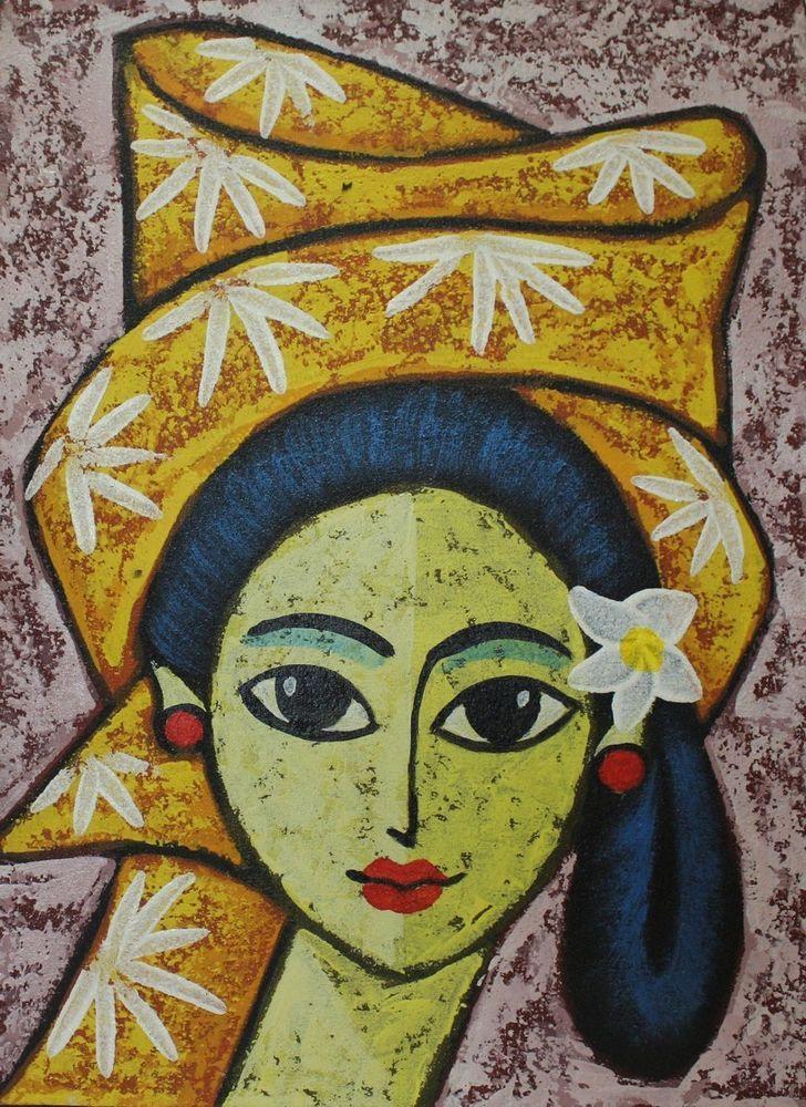 BALIMÄDCHEN GEMÄLDE Mädchenbild Leinwand Balimalerei Cewek Junge Frau Bild Girl  in Antiquitäten & Kunst, Internationale Antiq. & Kunst, Asiatika: Südostasien | eBay!