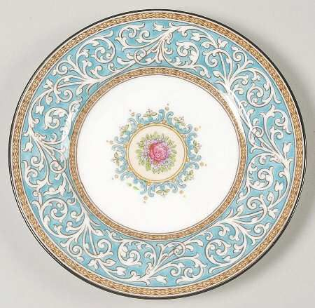 Manufacturer Status: Discontinued Actual: 1962 - 1963 Pattern: Praze-Turquoise by WEDGWOOD CHINA [WW PRAT] Pattern #: W2830 Description: TURQUOISE BAND,FLORAL TINTAGEL CENTER