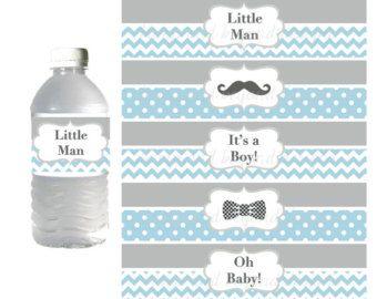 Hombrecito botella de agua etiquetas por BumpAndBeyondDesigns